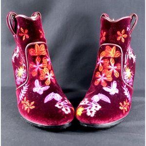 Isabel Marant Red Embroidered Velvet Boots